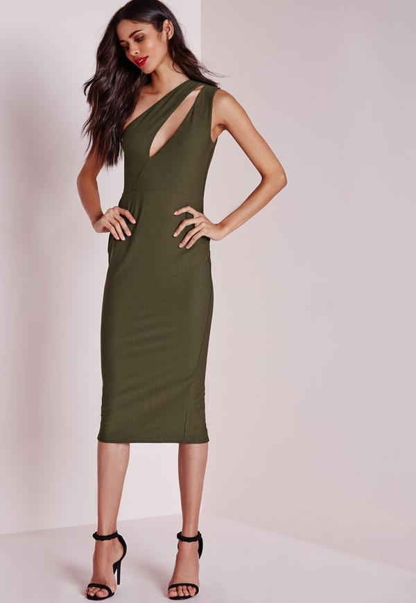 One Shoulder Split Midi Dress Khaki