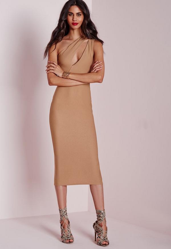 One Shoulder Split Midi Dress Camel