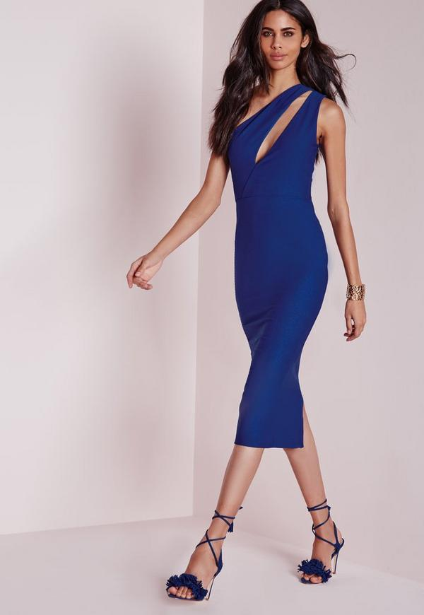 One Shoulder Split Midi Dress Cobalt
