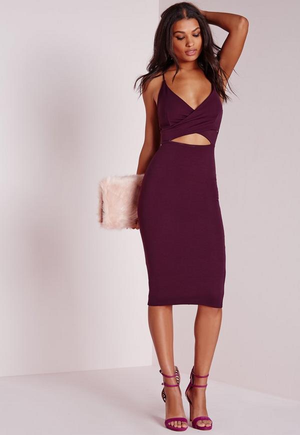 Scuba Strappy Cut Out Midi Dress Purple