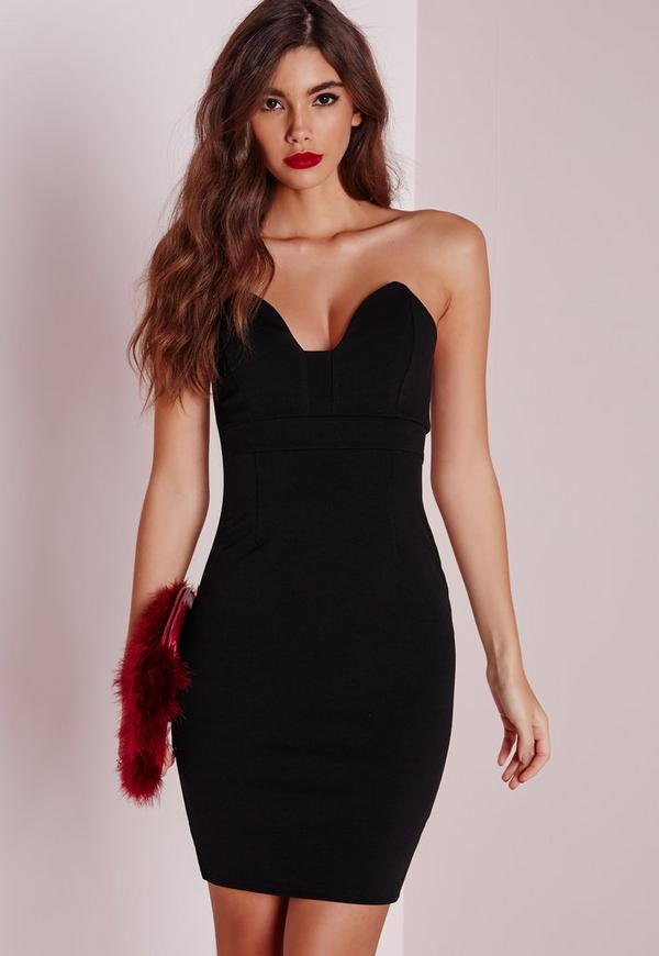 Scuba Bandeau Bodycon Dress Black