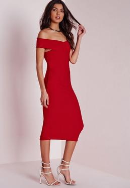 Crepe Bardot Midi Dress Red