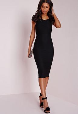 Crepe Bardot Midi Dress Black