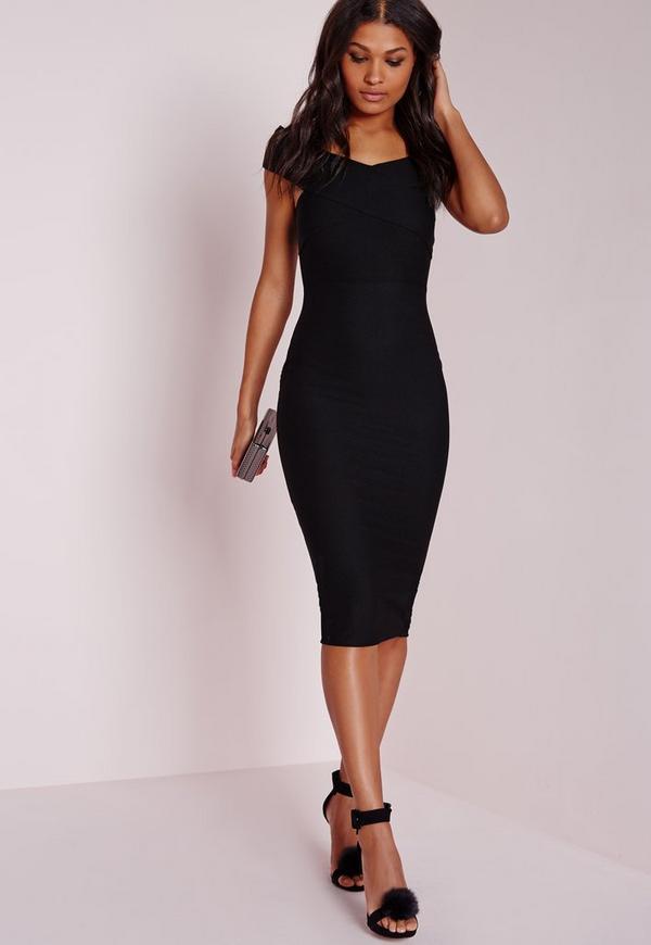 Crepe Bardot Midi Dress Black