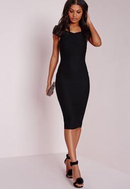 Czarna sukienka bardotka za kolano