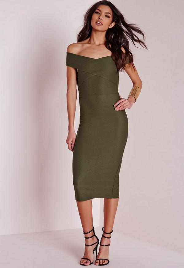 Crepe Bardot Midi Dress Khaki