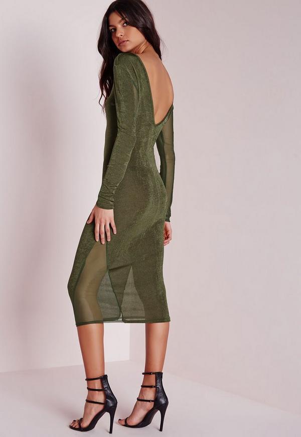 Jersey Mesh Inserts Midi Dress Khaki