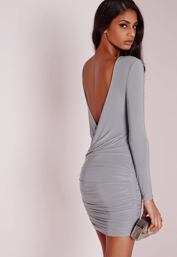 Slinky drape back ruched bodycon dress