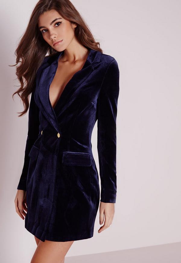 Blue velvet blazer dress pictures