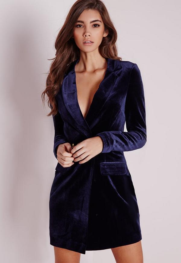robe blazer en velours bleu marine missguided. Black Bedroom Furniture Sets. Home Design Ideas
