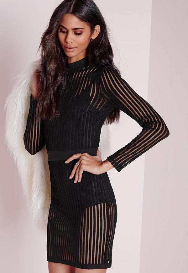 Black long sleeve mesh bodycon dress