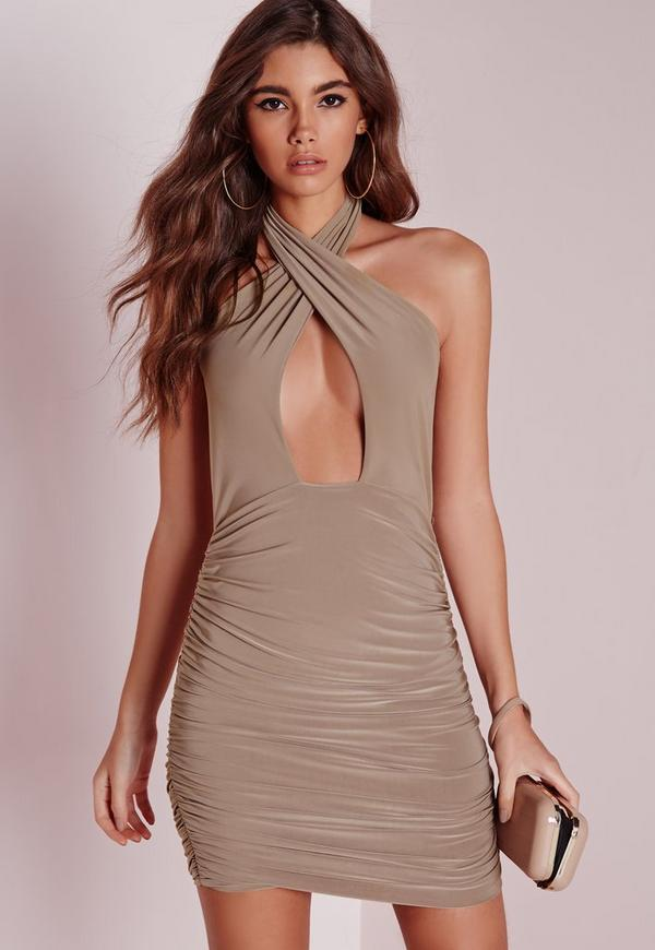 Slinky Halter Ruche Bodycon Dress Taupe