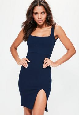 Ponte Square Neck Side Split Midi Dress Navy
