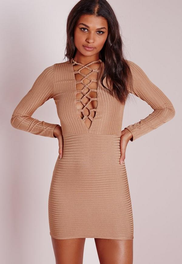 Ribbed Lace Up Front Bodycon Dress Camel