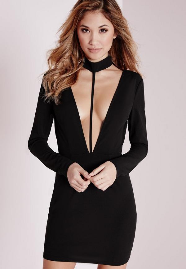 crepe choker long sleeve bodycon dress black