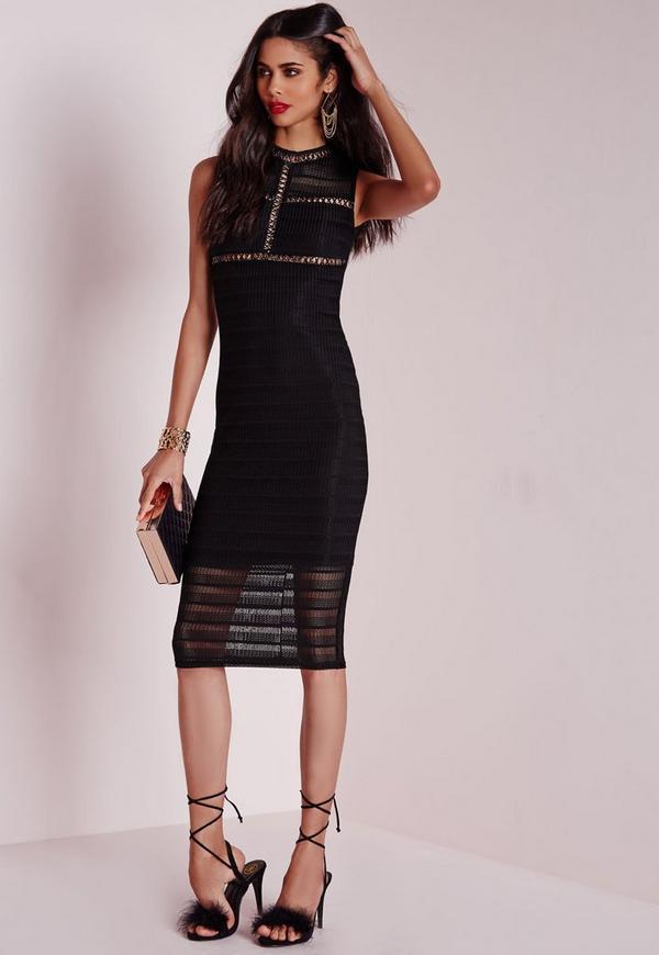 Knitted Sleeveless Midi Dress Black
