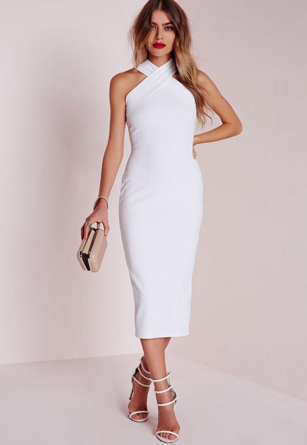 Textured Midi Dress White