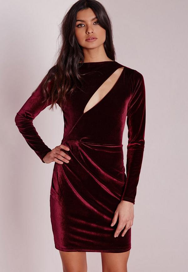 Velvet Long Sleeve Bodycon Dress Burgundy