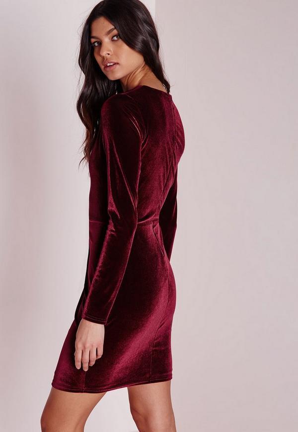Long sleeve maroon velvet dress