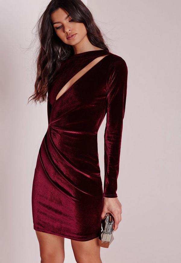 Velvet Long Sleeve Bodycon Dress Burgundy