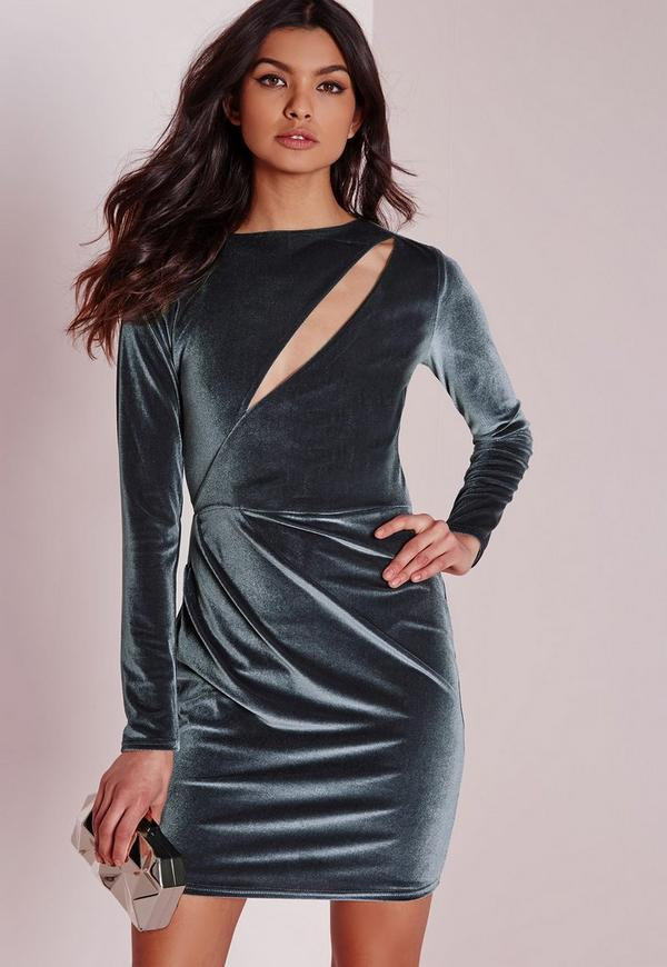 Velvet Long Sleeve Bodycon Dress Grey