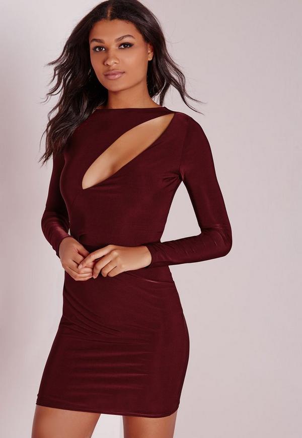 Slinky Long Sleeve Bodycon Dress Burgundy