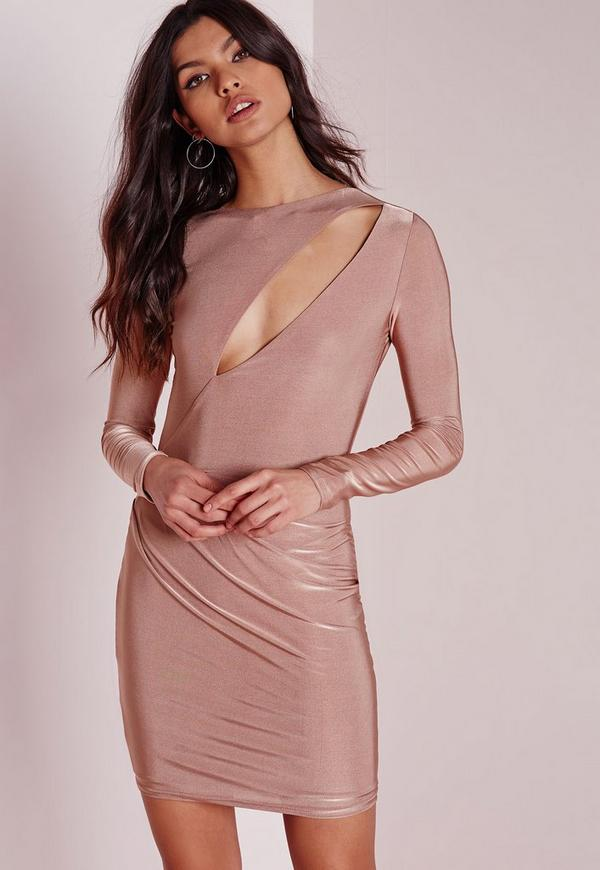 Slinky Long Sleeve Bodycon Dress Rose Pink