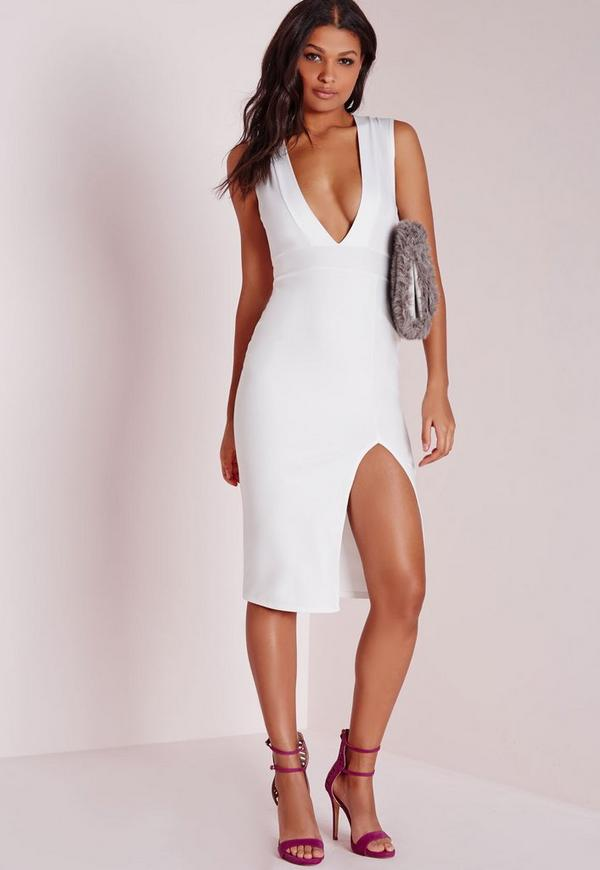Crepe Sleeveless Midi Dress White