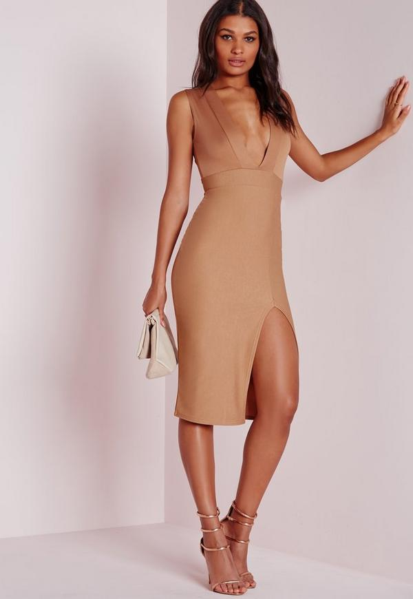 Crepe Sleeveless Midi Dress Camel