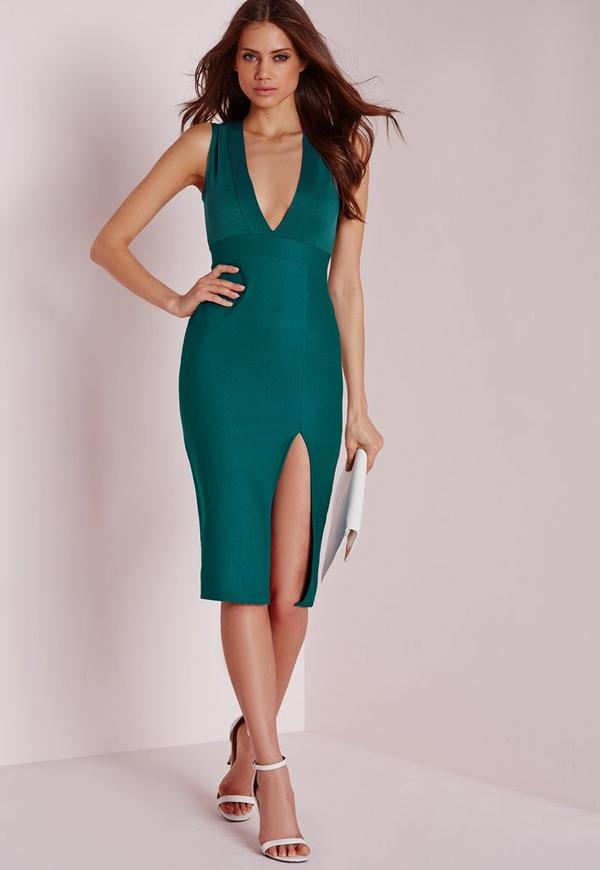 Crepe Sleeveless Midi Dress Teal