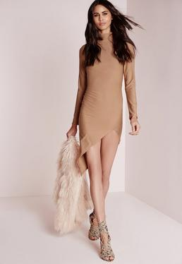 Crepe High Neck Asymmetric Bodycon Dress Camel