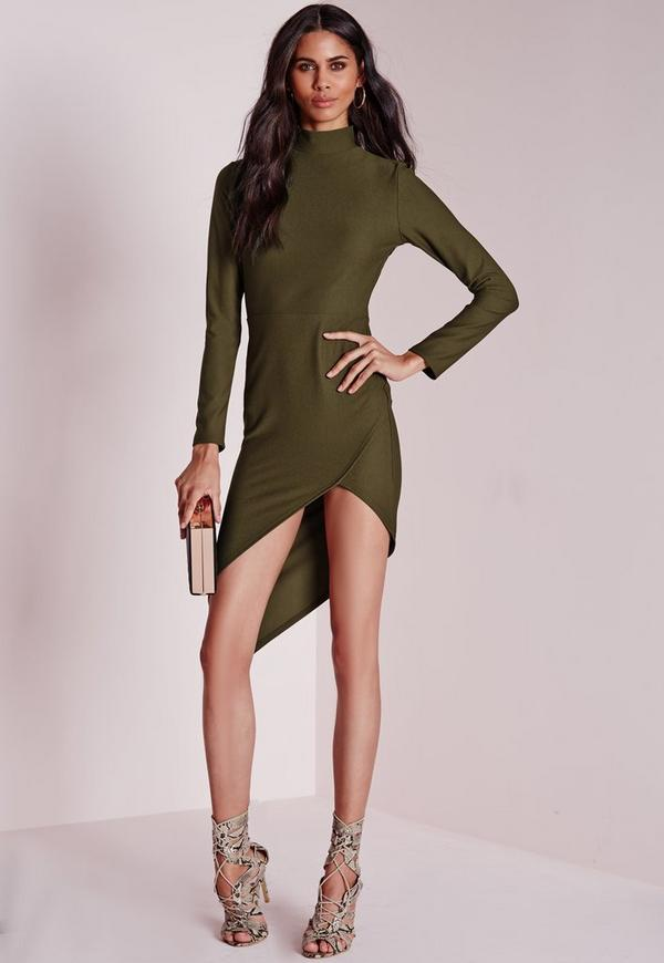 Crepe High Neck Asymmetric Bodycon Dress Khaki