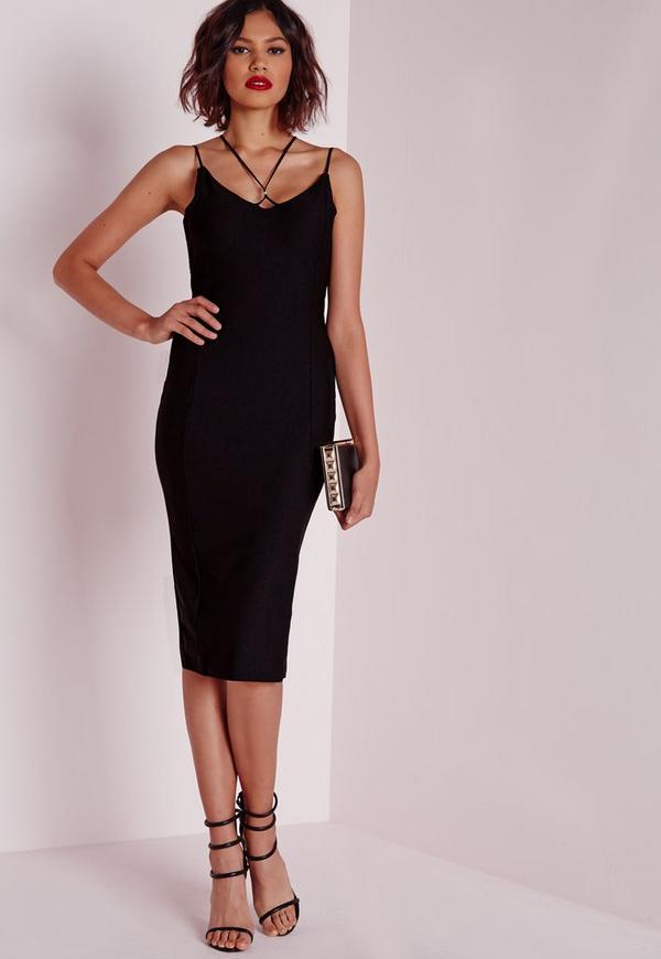 Strappy Ring Detail Midi Dress Black