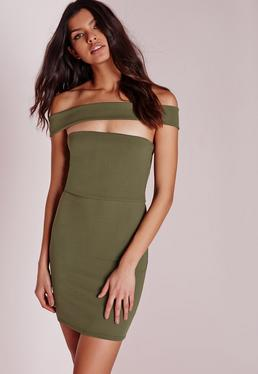 Cut Out Panel Bardot Bodycon Dress Khaki