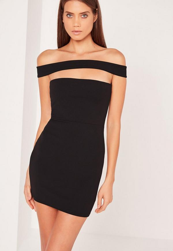 Cut Out Panel Bardot Bodycon Dress Black