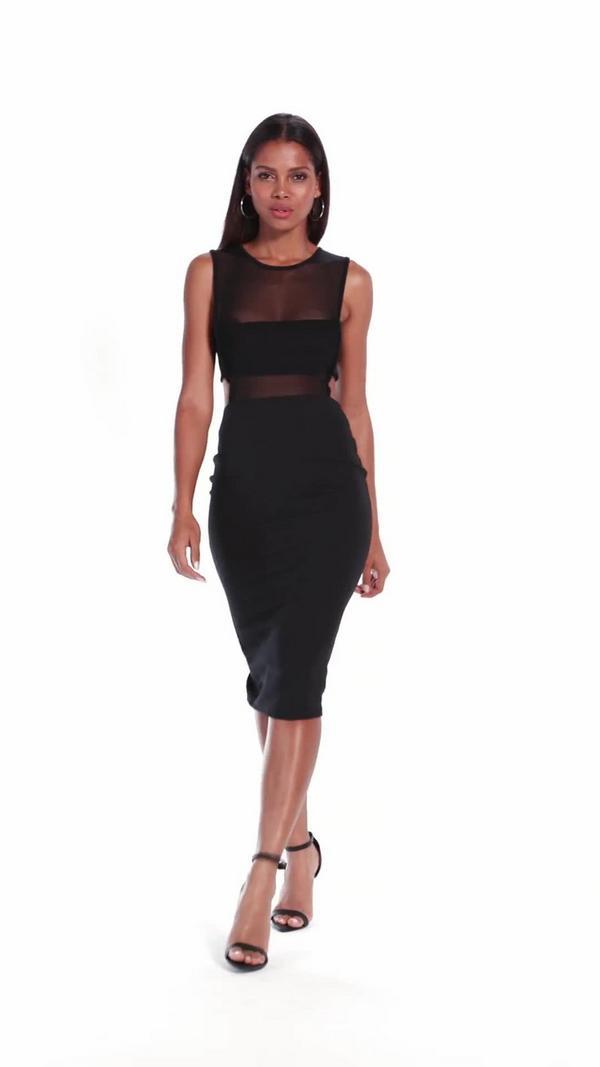 Crepe Sleeveless Cut Out Midi Dress Black Dresses Midi