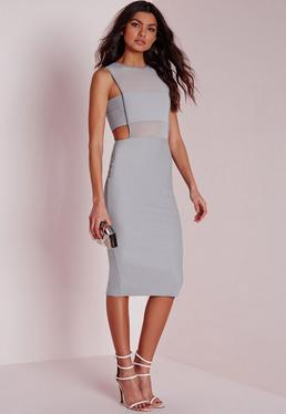 Crepe Sleeveless Cut Out Midi Dress Grey