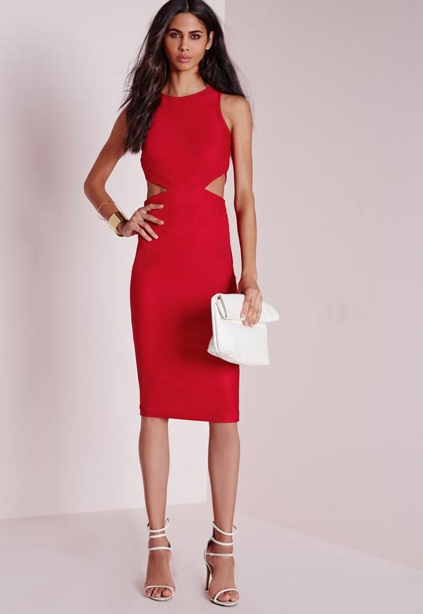 Crepe Sleeveless Cut Out Midi Dress Red