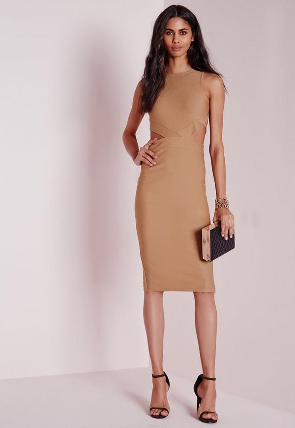 Crepe Sleeveless Cut Out Midi Dress Camel