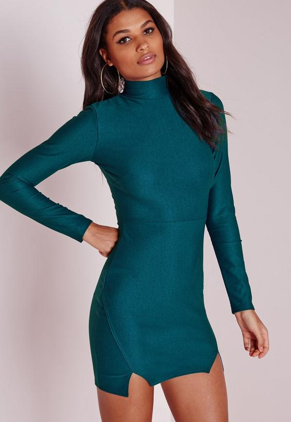 Crepe High Neck Bodycon Dress Teal