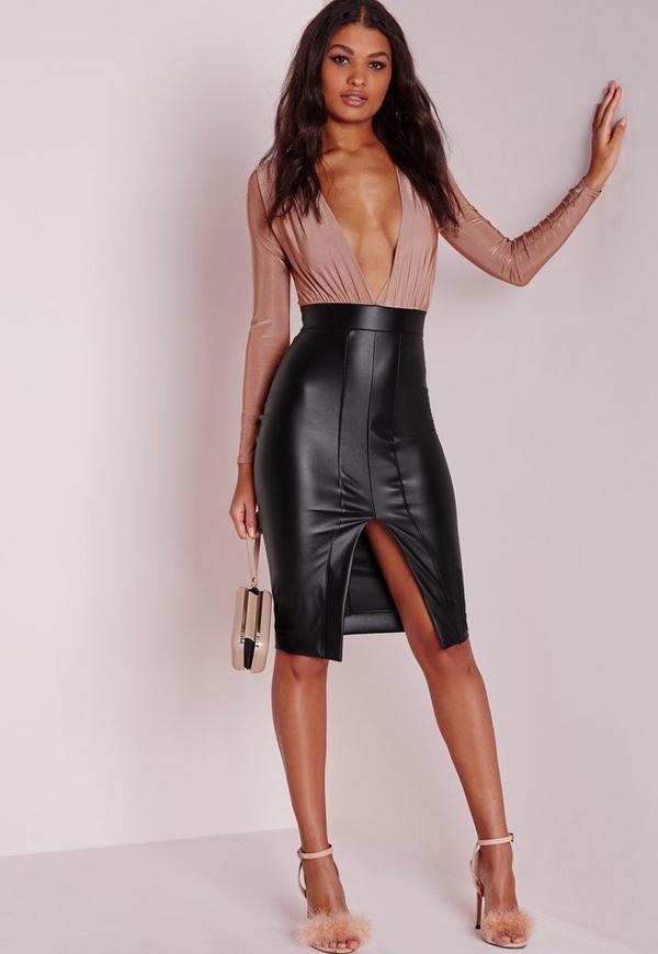 Faux Leather Slinky Midi Dress Rose