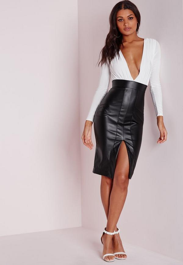 Faux Leather Slinky Midi Dress Monochrome