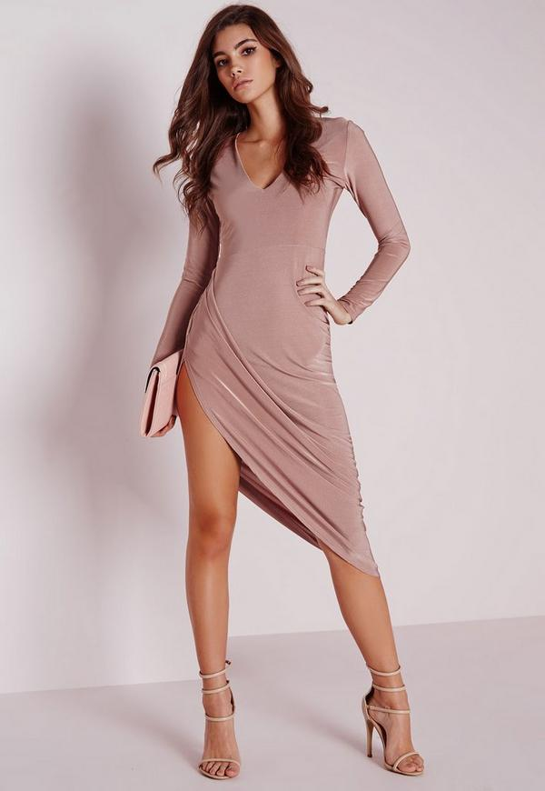 Slinky Long Sleeve Ruched Midi Dress Rose