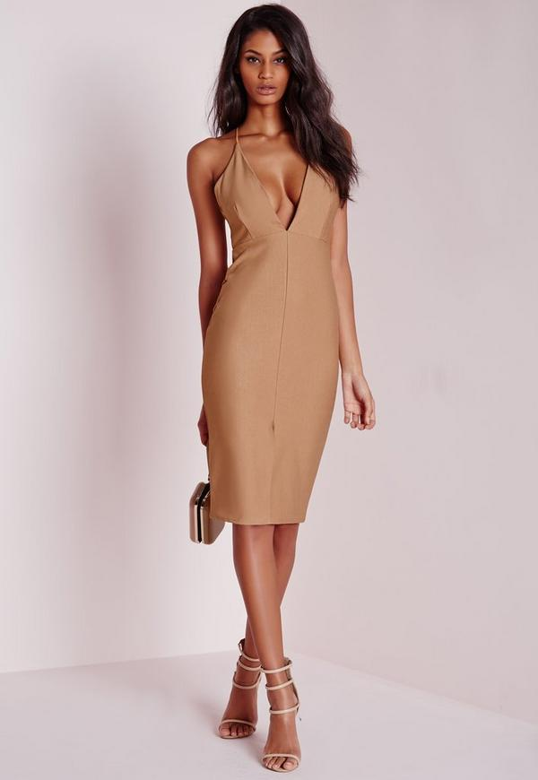 Strappy Front Split Midi Dress Camel
