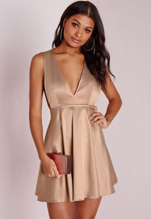 Silky Plunge Skater Dress Nude