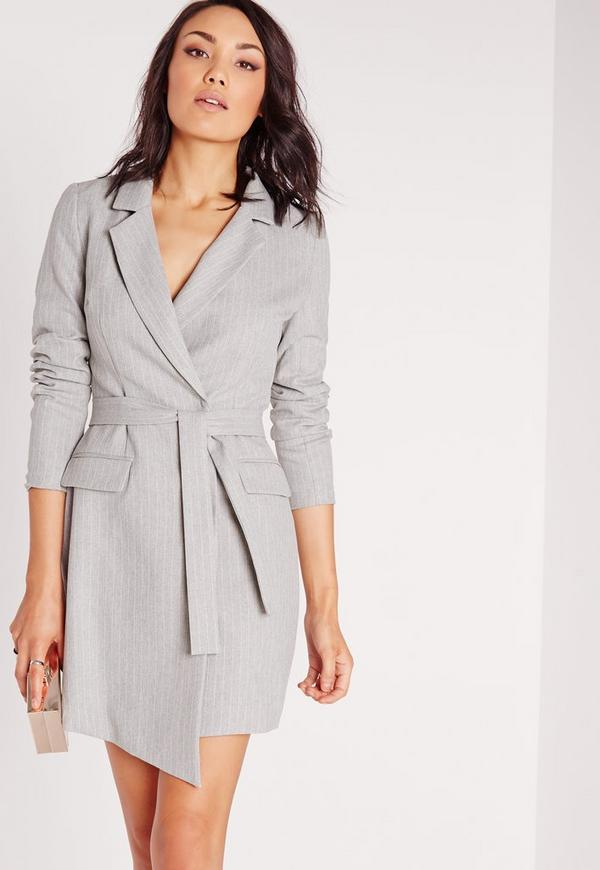 Pinstripe Wrap Blazer Dress Grey