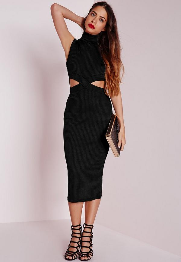 Ribbed Sleeveless Cut Out Waist Midi Dress Black