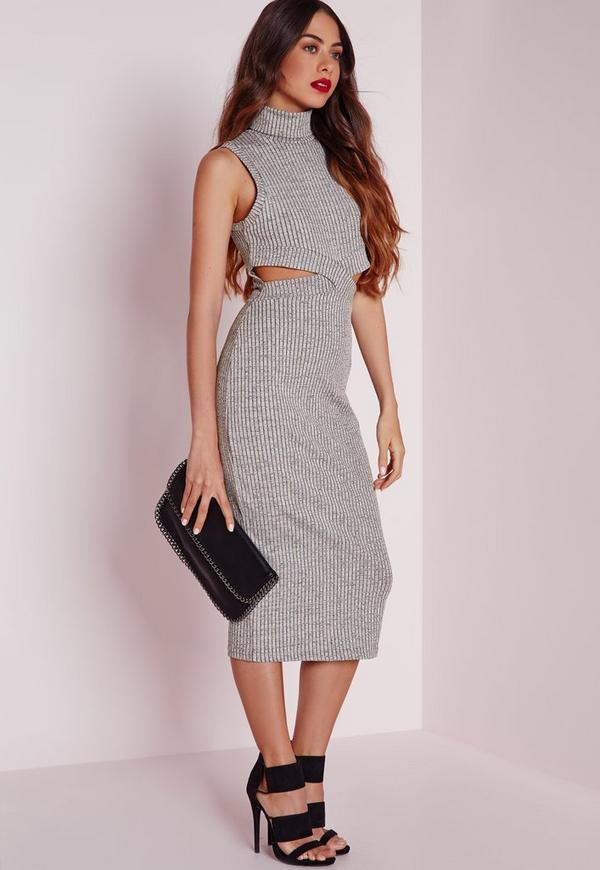 Ribbed Sleeveless Cut Out Waist Midi Dress Grey