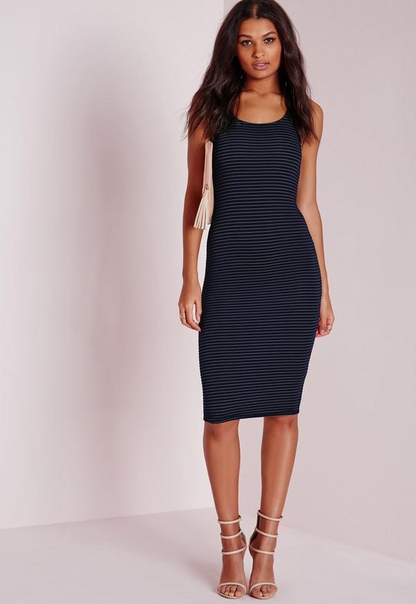 Sleeveless Sheer Stripe Bodycon Dress Black