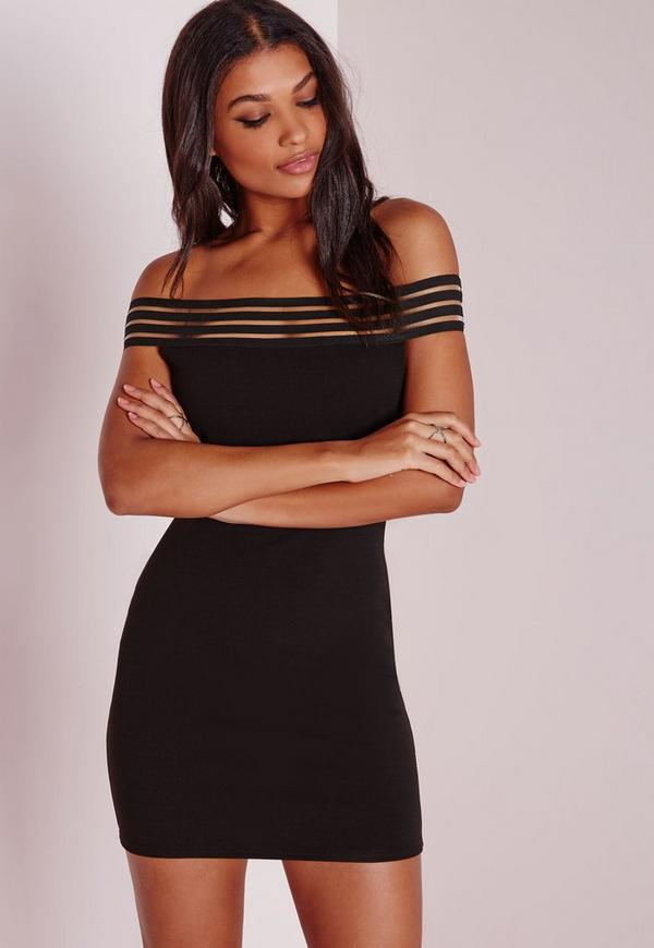 Sheer Stripe Bardot Bodycon Dress Black